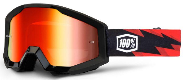 Okuliare Strata Slash 100% USA (čierne, červená chróm plexi)